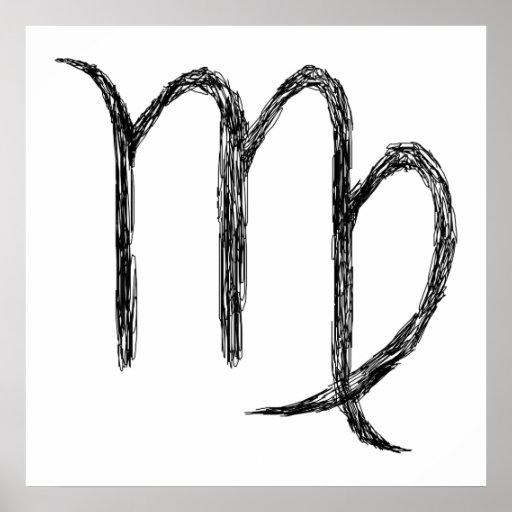 Virgo. Zodiac Astrology Sign. Black. Print