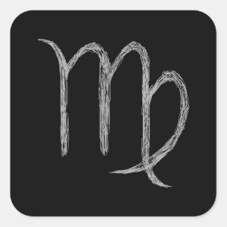 Virgo. Zodiac Astrology Sign. Black. Square Sticker