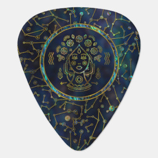 Virgo Zodiac Gold Abalone on Constellation Guitar Pick