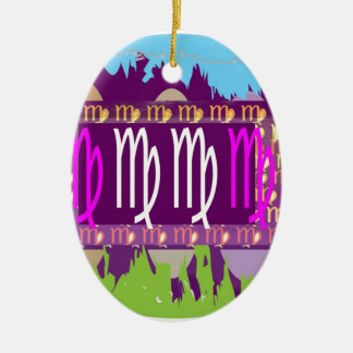 VIRGO Zodiac Holy Purple Symbols Ceramic Oval Decoration