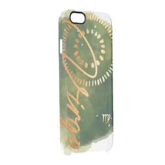 Virgo Zodiac Olive Green & Gold Watercolour Galaxy Clear iPhone 6/6S Case