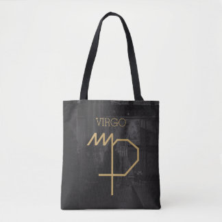Virgo Zodiac Sign | Custom Background + Text Tote Bag