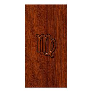 Virgo Zodiac Sign in Mahogany wood style Personalised Photo Card