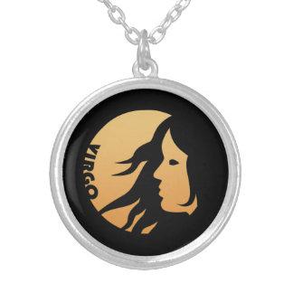 Virgo Zodiac Sign Round Pendant Necklace