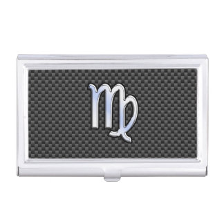 Virgo Zodiac Sign on Charcoal Carbon Fiber Style Case For Business Cards