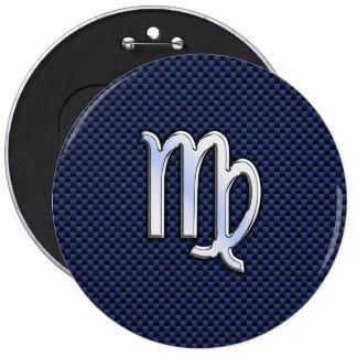 Virgo Zodiac Sign on Navy Blue Carbon Fiber Print 6 Cm Round Badge