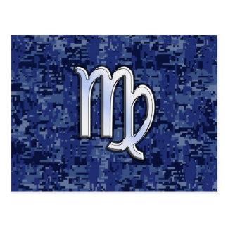 Virgo Zodiac Sign on Navy Blue Digital Camo Postcard