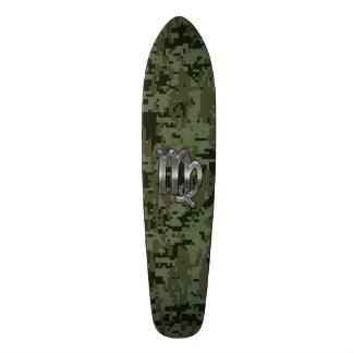 Virgo Zodiac Sign on Olive Green Digital Camo 20 Cm Skateboard Deck