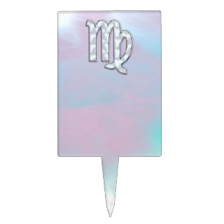 Virgo Zodiac Sign on Pastels Mother of Pearl Cake Toppers
