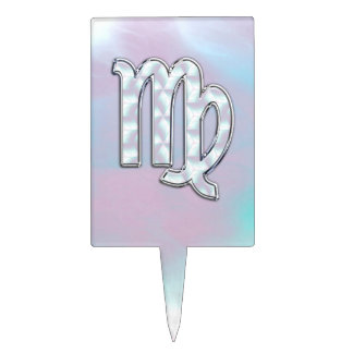 Virgo Zodiac Sign on Pastels Mother of Pearl Style Cake Pick