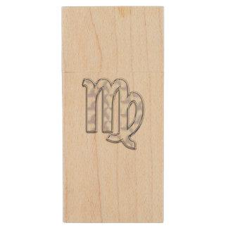 Virgo Zodiac Sign on Pastels Nacre Style Print Wood USB 2.0 Flash Drive