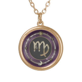 Virgo Zodiac Sign Round Pendant Necklace