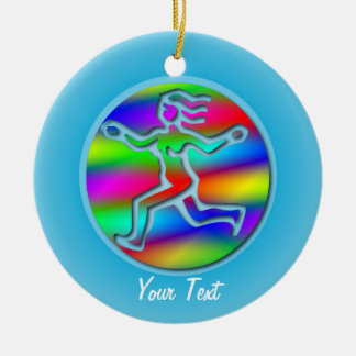 Virgo Zodiac Star Sign Rainbow Girl Birthday Round Ceramic Decoration