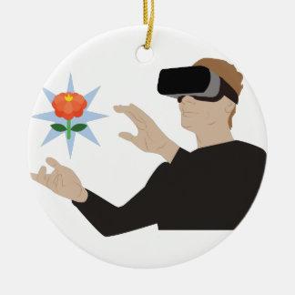 Virtual Reality Round Ceramic Decoration