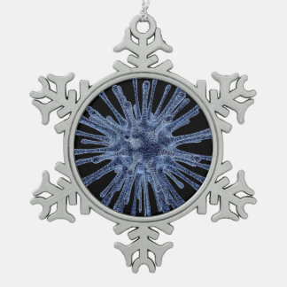 Virus Infected Cell Snowflake Pewter Christmas Ornament