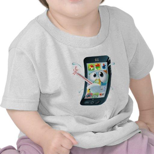 Virus mobile cell phone cartoon t-shirt