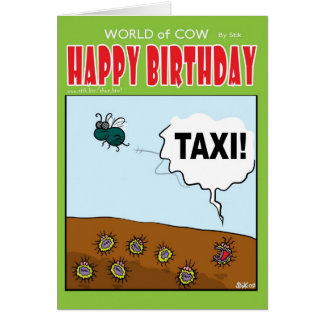 "Viruses hailing a passing Fly ""TAXI!"" Card"