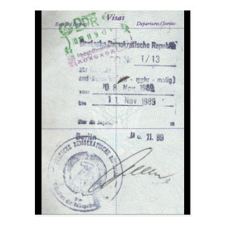 Visa & Entry Stamps from Communist East Germany Postcard