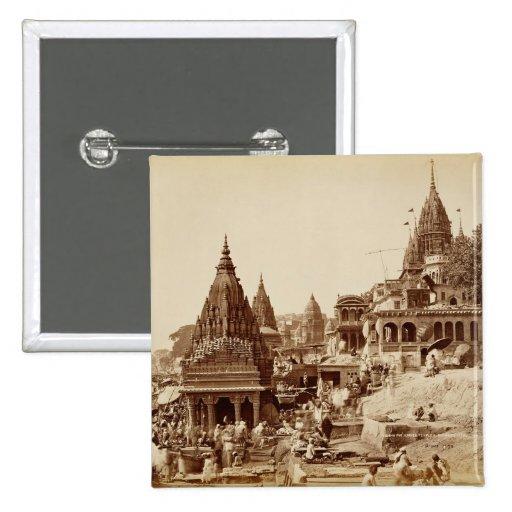 Vishnu Pud and Other Temples, Benares (sepia photo Pin
