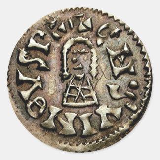 Visigoth Chindaswinth Gold Coin Obverse Round Sticker
