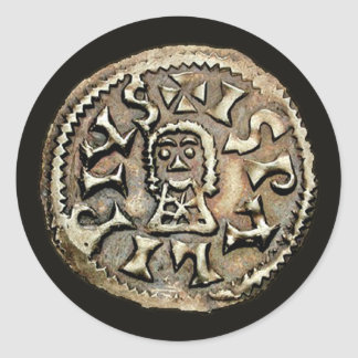 Visigoth Chindaswinth Gold Coin Reverse Round Sticker