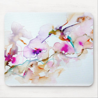 """Vision in Pink"" Hummingbird Pring Mouse Pad"