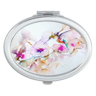 Vision in Pink Hummingbird Print Travel Mirrors