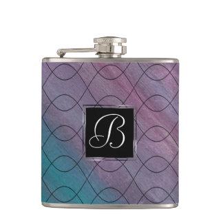 Visionary Bar   Monogram Pink Purple Teal Blue   Hip Flask