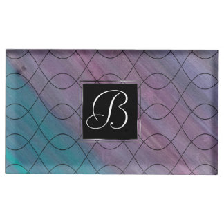 Visionary Party   Monogram Pink Purple Teal Blue   Place Card Holder