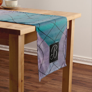 Visionary Table | Monogram Pink Purple Teal Blue | Short Table Runner
