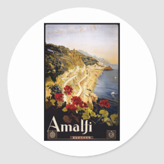 Visit Amalfi Poster Round Sticker