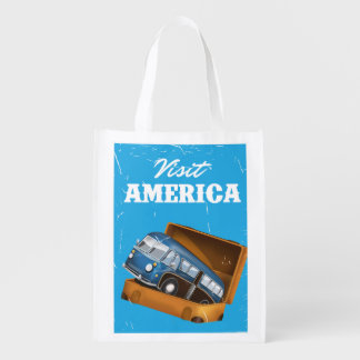 Visit America vintage vacation print. Reusable Grocery Bags