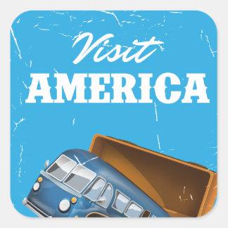 Visit America vintage vacation print. Square Sticker