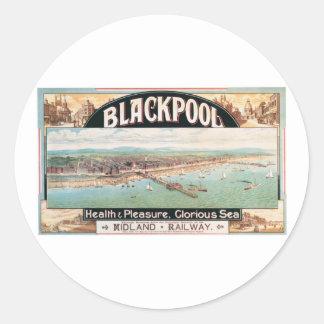 Visit Blackpool Poster Round Sticker