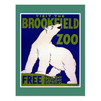 Visit Brookfield Zoo Vintage WPA Postcard