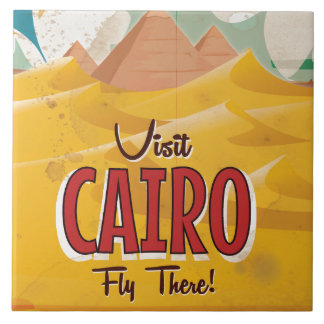 Visit Cairo Egypt vintage travel poster Large Square Tile