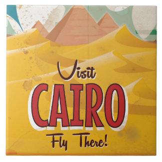 Visit Cairo Egypt vintage travel poster Large Square Tile