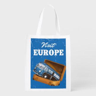 Visit Europe vintage vacation print. Market Totes