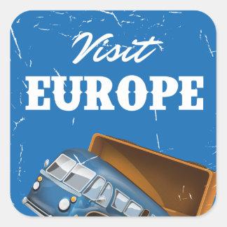 Visit Europe vintage vacation print. Square Sticker