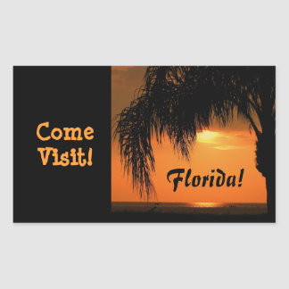 Visit Florida, palm tree sunset sticker. Rectangular Sticker
