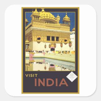 Visit India Vintage Travel Art Square Sticker