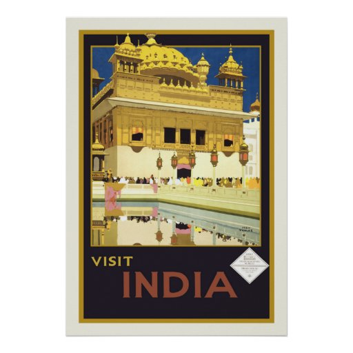 """Visit India"" Vintage Travel Poster"