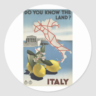 Visit Italy Poster Round Sticker