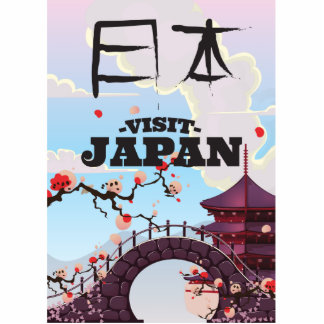 Visit Japan retro travel poster. Standing Photo Sculpture