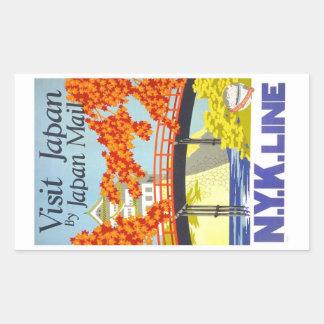 Visit Japan Vintage Travel Art Rectangular Sticker