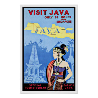 Visit Java Indonesia From Singapore Vintage Poster