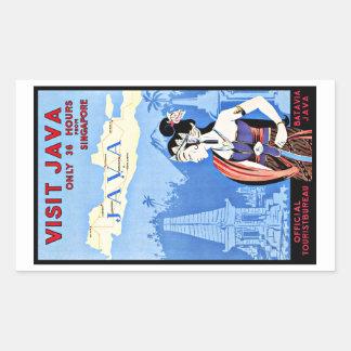Visit Java Indonesia From Singapore Vintage Rectangular Sticker