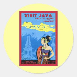 Visit Java ~ Vintage Travel Round Sticker