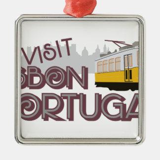 Visit Lisbon Portugal Metal Ornament