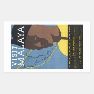 Visit Malaya Malaysia Railways Vintage Rectangular Sticker